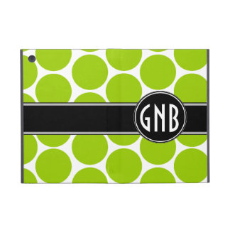 MONOGRAMMED LIME GREEN POLKA DOTS PATTERN COVER FOR iPad MINI