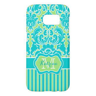 Monogrammed Lime, Turquoise, White Striped Damask Samsung Galaxy S7 Case