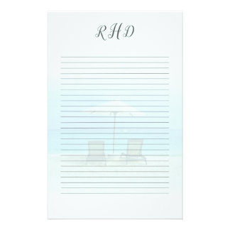 Monogrammed Lined Beach Chairs Blank Writing Paper