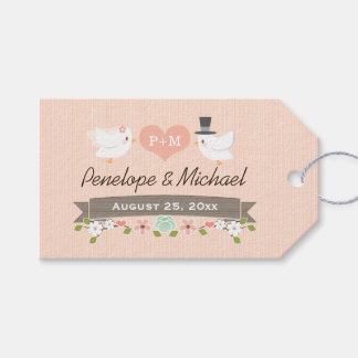 MONOGRAMMED LOVE BIRDS BLUSH DOVE THANK YOU GIFT TAGS