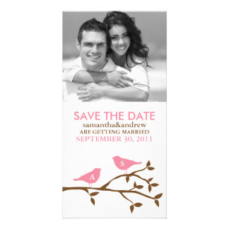 Monogrammed Love Birds Save the Date Photocards Custom Photo Card