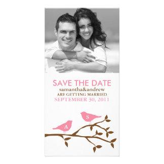 Monogrammed Love Birds Save the Date Photocards Custom Photo Card
