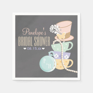 Monogrammed Mad Hatter Bridal Shower Disposable Napkins