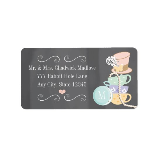 MONOGRAMMED MAD HATTER RETURN ADDRESS LABELS