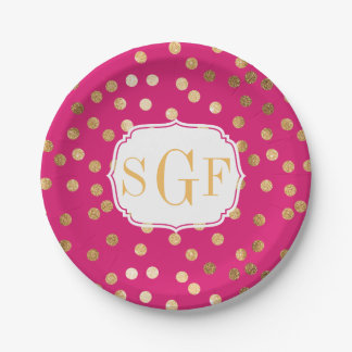 Monogrammed Magenta and Gold Glitter Dots Paper Plate