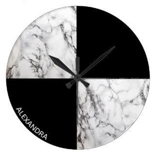 Monogrammed Marble stone Geometric Shapes Large Clock