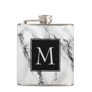 Monogrammed Marble Stone Pattern Hip Flask