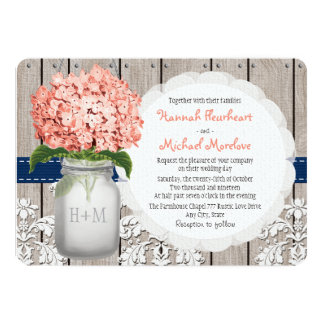 "Monogrammed Mason Jar Coral Navy Hydrangea Wedding 5"" X 7"" Invitation Card"