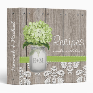 Monogrammed Mason Jar Green Hydrangea Recipe 3 Ring Binders