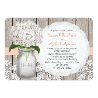 """Monogrammed Mason Jar Peach Hydrangea Wedding 5"""" X 7"""" Invitation Card"""