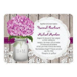 "Monogrammed Mason Jar Plum Hydrangea Wedding 5"" X 7"" Invitation Card"
