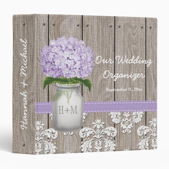 Monogrammed Mason Jar Purple Hydrangea Wedding Binder