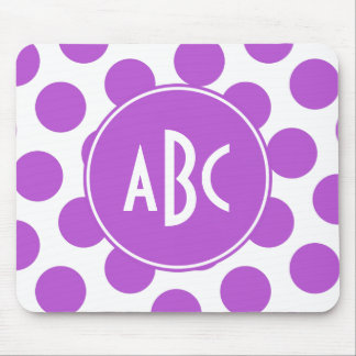 Monogrammed Medium Orchid Polka Dots Mouse Pad