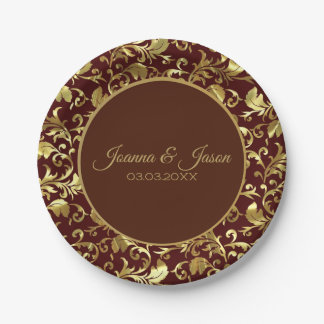 Monogrammed Metallic Gold Damask And Brown Circle Paper Plate