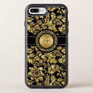 Monogrammed Metallic Gold Damask OtterBox Symmetry iPhone 8 Plus/7 Plus Case