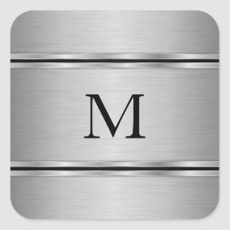 Monogrammed Metallic Gray Geometric Shapes Square Sticker
