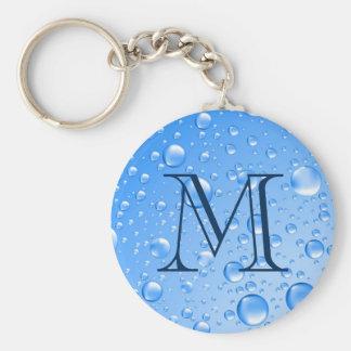 Monogrammed Metallic Sky Blue Rain Drops Keychain