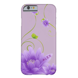 Monogrammed Mildly Purple Blossom Barely There iPhone 6 Case