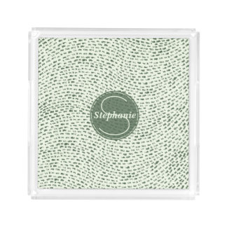 Monogrammed Mint and Army Green Dashes Serving Tray