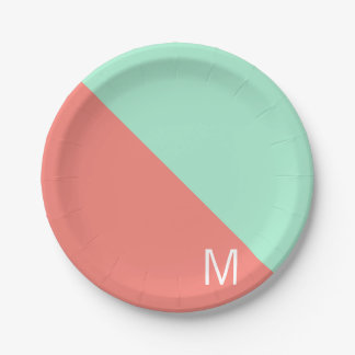 Monogrammed Mint and Coral Color Block 7 Inch Paper Plate