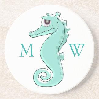 Monogrammed Mint Coloured Seahorse Coaster