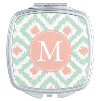 Monogrammed Mint Coral Diamond Ikat Pattern Travel Mirror