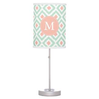 Monogrammed Mint Coral Diamonds Ikat Pattern Desk Lamp