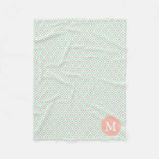 Monogrammed Mint Coral Diamonds Ikat Pattern Fleece Blanket