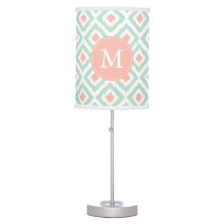 Monogrammed Mint Coral Diamonds Ikat Pattern Table Lamp