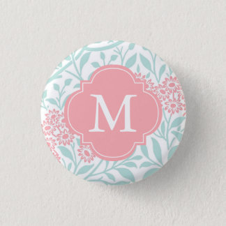 Monogrammed Mint Coral Floral Damask Pattern 1 Inch Round Button