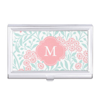 Monogrammed Mint Coral Floral Damask Pattern Business Card Holder
