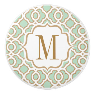 Monogrammed Mint Green and Gold Moroccan Ceramic Knob