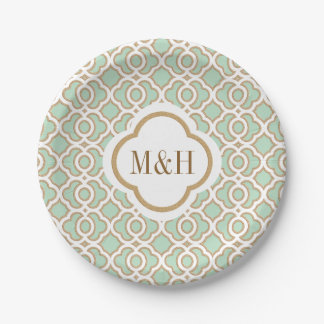 Monogrammed Mint Green and Gold Moroccan Wedding Paper Plate