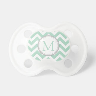 Monogrammed Mint Green and White Chevron Pacifier
