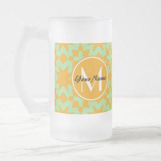 Monogrammed Mint Green Orange Stylish Chic Pattern 16 Oz Frosted Glass Beer Mug