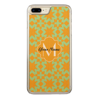 Monogrammed Mint Green Orange Stylish Chic Pattern Carved iPhone 7 Plus Case