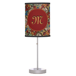 Monogrammed Modern Abstract Faces Pattern Table Lamp