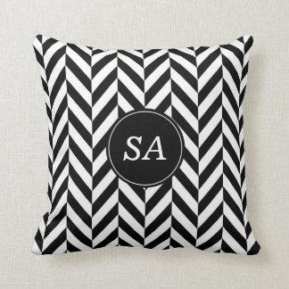 Monogrammed Modern Black & White Chevron Design Throw Pillow