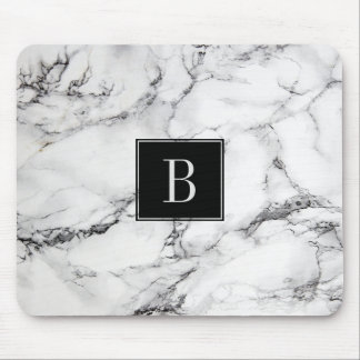 Monogrammed Modern Grey & White Marble Texture Mouse Pad