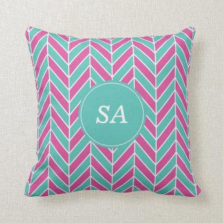 Monogrammed Modern Pink & Blue Chevron Design Throw Pillow