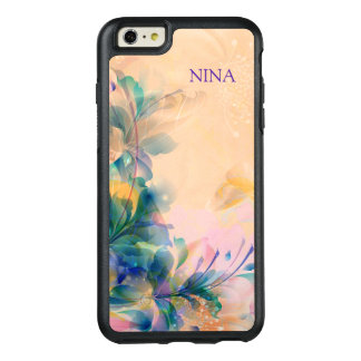 Monogrammed Modern Purple And Blue Flowers OtterBox iPhone 6/6s Plus Case