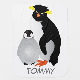 Monogrammed Mommy & Baby Penguin Baby Blanket