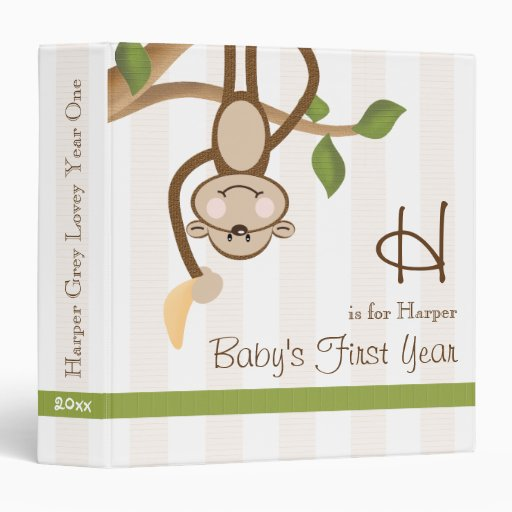 Monogrammed Monkey Baby Photo Album Binder