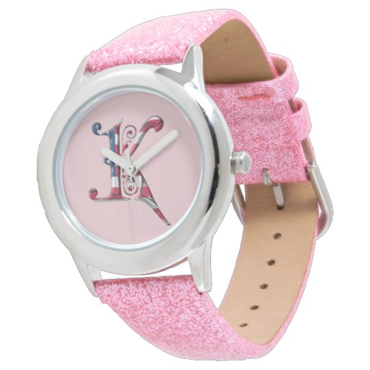 Monogrammed Monogram K American Flag Colours Watch