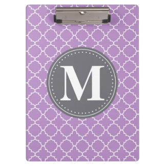 Monogrammed Moroccan Lattice in Lilac / Gray Clipboard