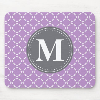 Monogrammed Moroccan Lattice in Lilac / Gray Mouse Pad