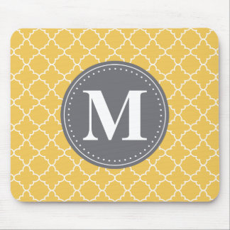 Monogrammed Moroccan Lattice in Yellow / Gray Mouse Pad
