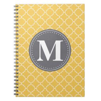 Monogrammed Moroccan Lattice in Yellow / Gray Note Book