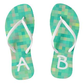 Monogrammed Multicolor Pattern Flip Flops