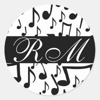 Monogrammed Music Notes Sticker
